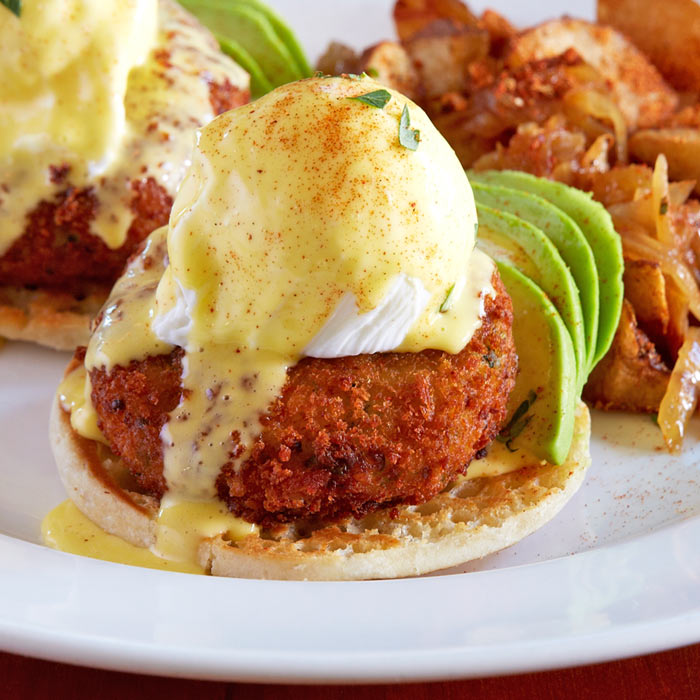 crab and avocado benedict menu item