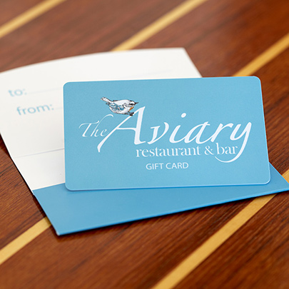 graphic about Printable Restaurant Gift Cards called The Aviary Cafe, Reward Card